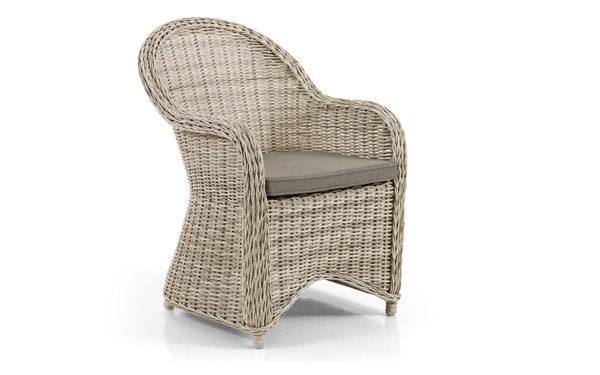 """Фото-Кресло из искусственного ротанга """"Paulina beige"""". Категория - плетеная мебель для улицы. Тип - обеденное кресло плетеное."""