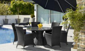 """Фото - Плетеная мебель """"Ninja black"""" - обеденная группа на веранду. Стол 120см. + 6 кресел. Производитель Brafab Швеция."""