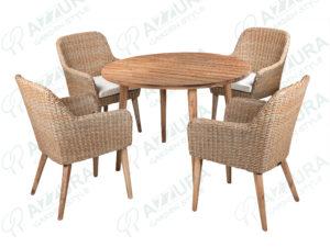 Фото -Плетеная мебель Coco + Polaris Azzura обеденная группа