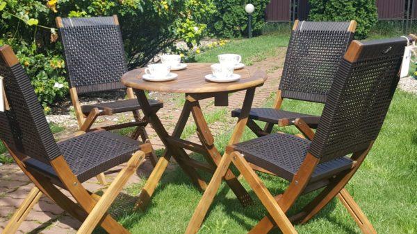Фото -Плетеная мебель Ever-ton brown 4 персоны акация + ротанг искусственный