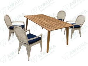 Фото -Плетеная мебель Haga + Andorra Azzura столовая