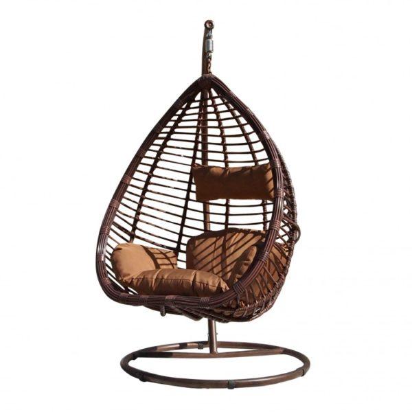 Фото -Подвесное кресло из ротанга Cuatro 0016 Большая коричневая корзина