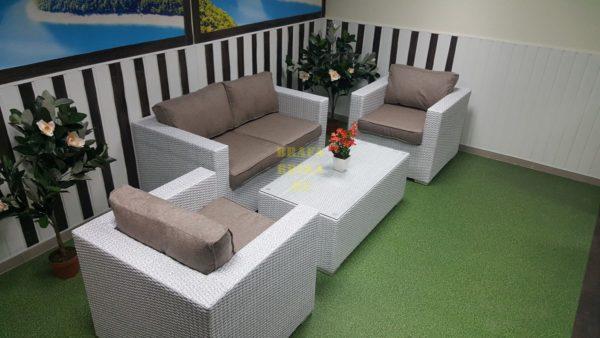 Фото - Искусственный ротанг мебель плетеная Louisiana lounge white beige