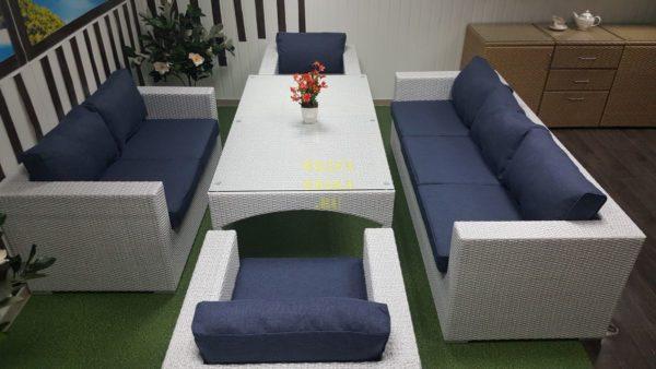 Фото-Комплект мебели обеденный на террасу Louisiana dining white&blue