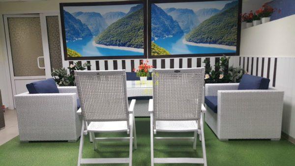 Фото-Обеденная мебель из ротанга Dream white&blue