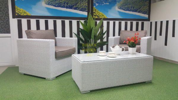 Фото - Плетеная мебель Louisiana cafe set white&beige
