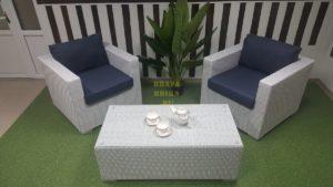 Фото - Плетеная мебель Louisiana cafe set white&blue