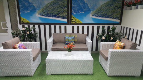 Фото -ьПлетеная мебель Louisiana lounge white beige