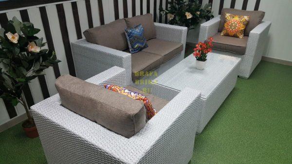 Фото - Плетеная мебель лаунж группа Louisiana lounge white beige
