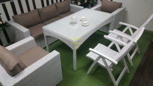 Фото-Плетеная мебель обеденная Dream white&beige