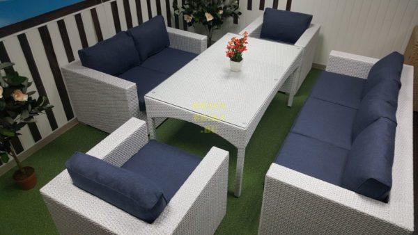Фото - Плетеная мебель столовая Louisiana dining white&blue