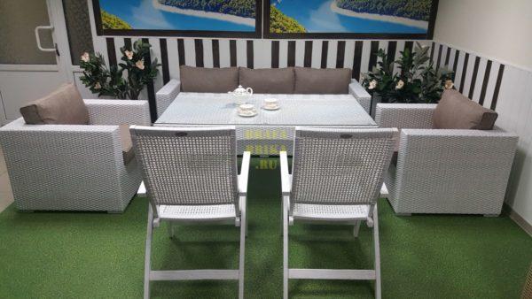 Фото-Ротанг комплект обеденный мебель Dream white&beige