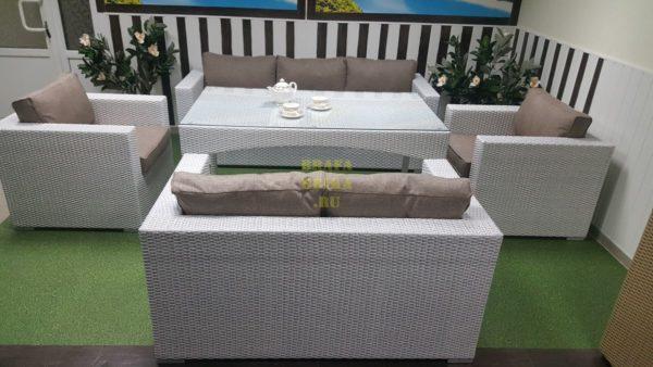Фото-Столовая для террасы мебель Louisiana dining white&beige