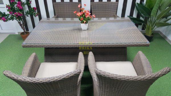 Фото-Ротанг столовая мебель Samurai 160 beige 4