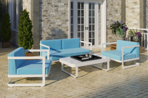Фото-Садовая мебель из алюминия VILLINO white & blue лаунж зона