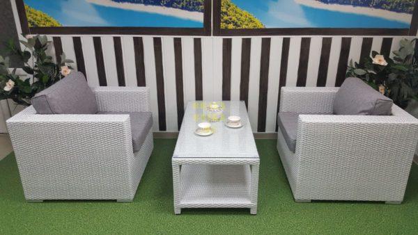 Фото-Плетеная мебель Louisiana cafe set white & grey