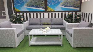 Фото-Плетеная мебель Louisiana white & grey