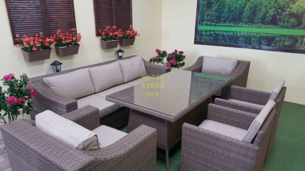 Фото- Плетеная мебель обеденная группа Glendon royal beige