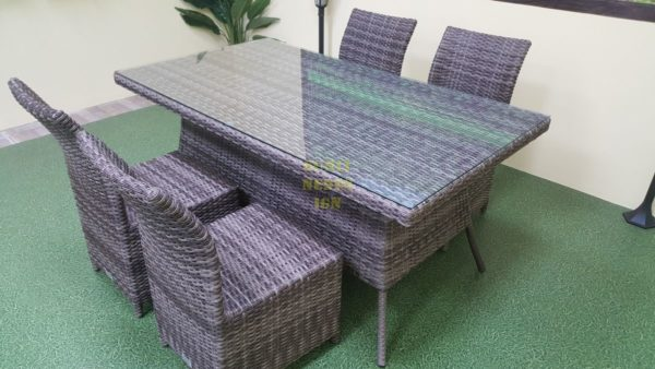 Мебель обеденная из ротанга Rose brown grey 4