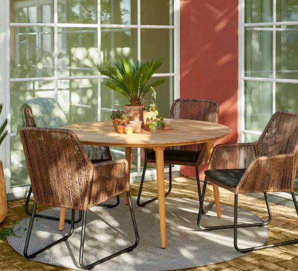 Фото столовая мебель веранды Rodena + Midway Плетеная садовая мебель Brafab