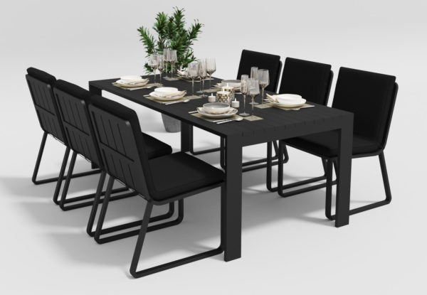 Садовая мебель Malia 200 model 1 black Gardenini