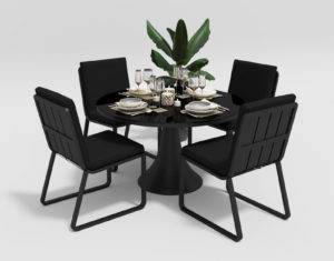 "Фото-Садовая мебель ""Voglie"" model Round carbon black"