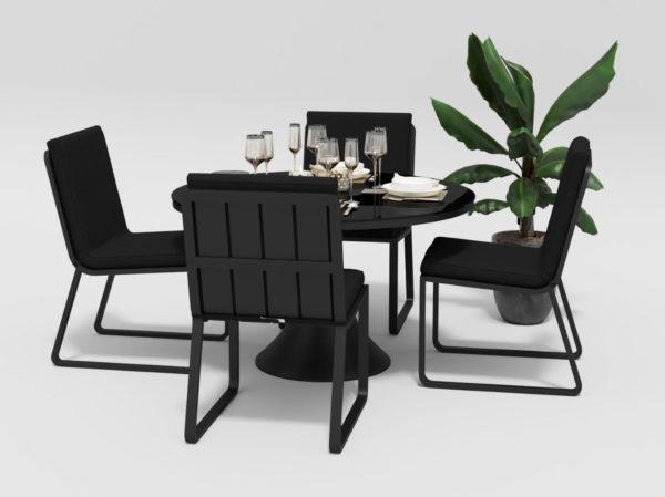 Фото-Садовая мебель алюминий Voglie Round carbon black