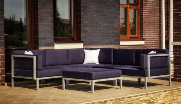 Фото-Садовая мебель из алюминия Serenita silver dark blue
