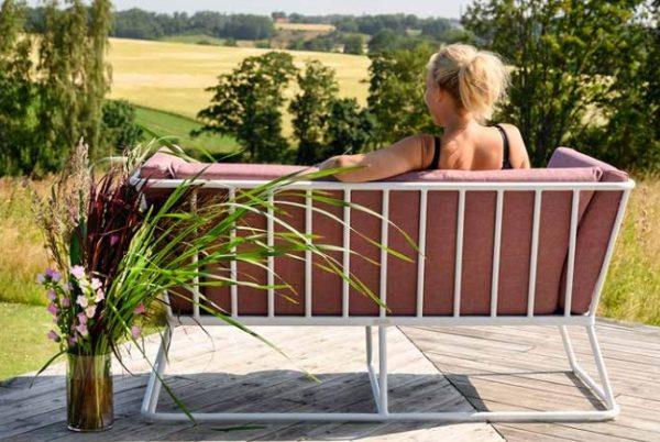 Vence Диван садовый 2-х местный белый красный фото2