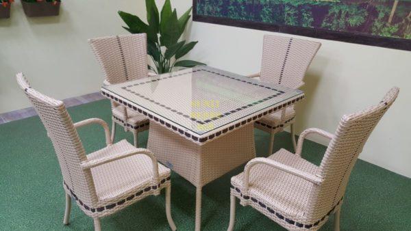 Фото-Aura beige 4 Садовая мебель плетеная из искусственного ротанга