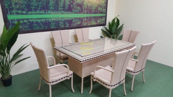 Aura beige 6 Мебель из искусственного ротанга Стол 160