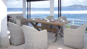 CALDERAN set 4 Плетеная мебель Skylinedesign обеденная группа