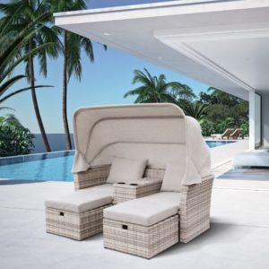 OASIS grey Плетеная мебель лежак с тентом