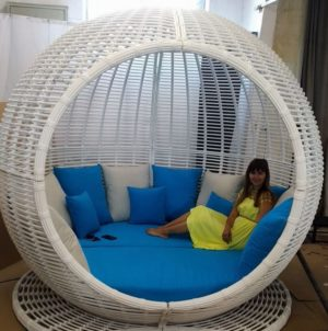 "Беседка из ротанга плетеная ""Apple"" garden lounge white"