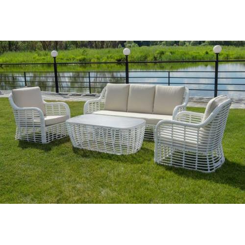 Bliss lounge set мебель из искусственного ротанга белая