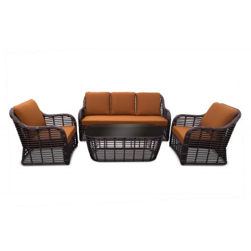 Bliss lounge set мебель из искусственного ротанга бронза