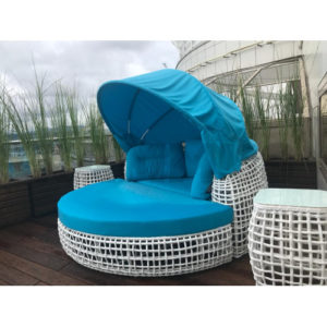 Лежак плетеный с крышей Santorini garden lounge