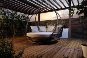"""Кровать из ротанга подвесная """"Bliss"""" garden sky bronze"""