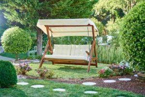 Качели садовые деревянные Paris beige textile