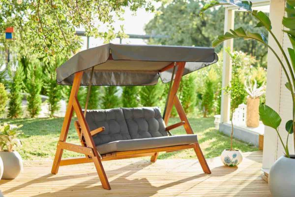 Качели садовые деревянные Paris grey textile