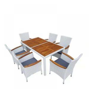 ELBA White 6 Плетеная мебель обеденная