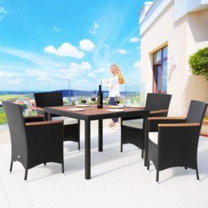 VALENCIA Black 4 Плетеная мебель столовая