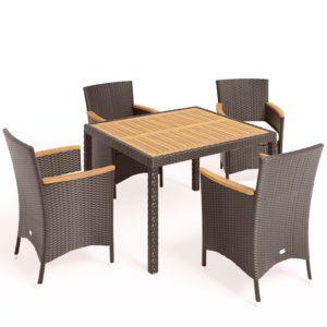 VALENCIA Brown 4 + 100 Плетеная мебель столовая