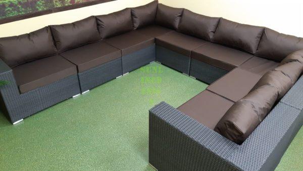 Luisa anthracite brown Плетеный диван из ротанга угловой